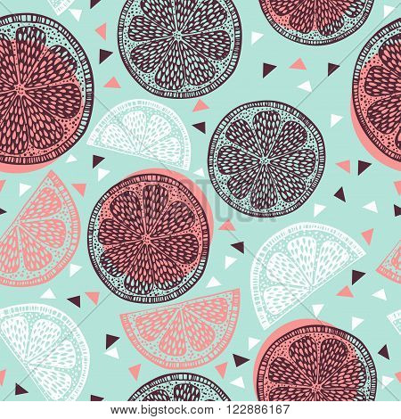 Citrus pattern graphics on blue background- vector