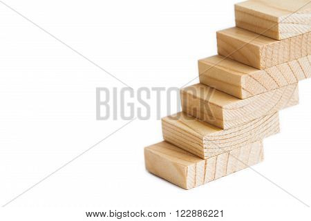 Wooden Stairs. Stairways Ladder. Retro Style Staircase Going Up. Soft Focus White Background. Copy S