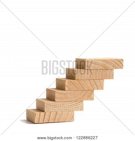 Wooden steps vintage staircase staircase going up. soft focus white background. copy text white background