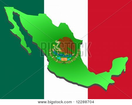 map of Mexico and Mexican flag illustration JPG