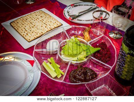 Passover seder plate, jewish holiday