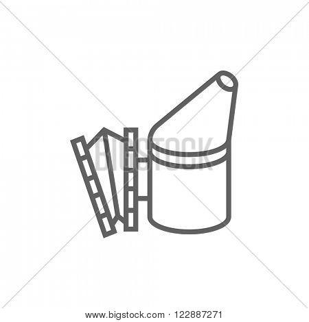 Bee hive smoker line icon.
