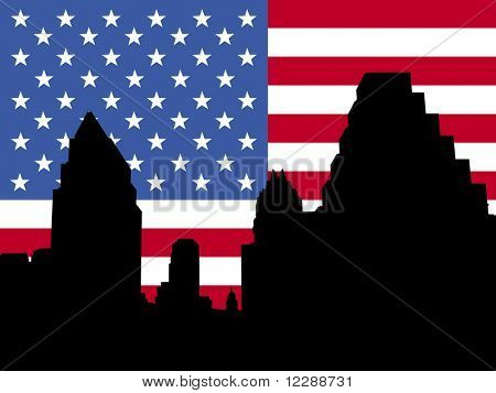 Austin Skyline with American flag illustration
