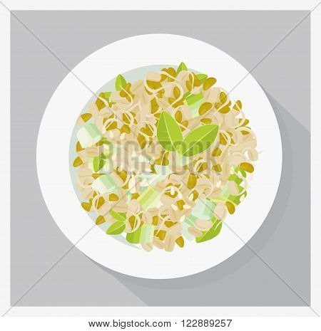 Soy sprouts salad, vegetarian meal. Flat lay vector illustration.