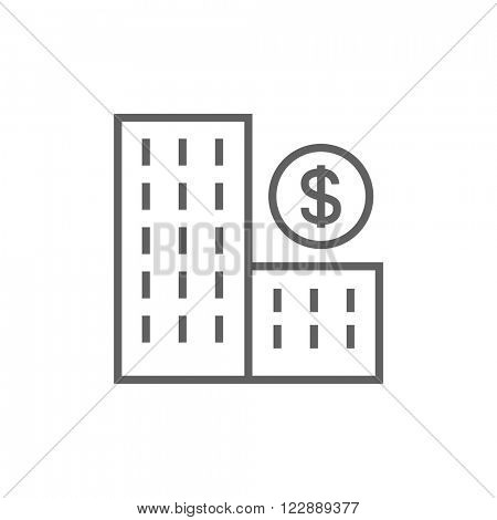 Condominium with dollar symbol line icon.