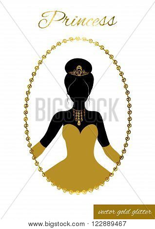 Princess full face black silhouette in tiara, necklace and ball gown. Queen in gold full-length dress, crown and gloves. In patterned gold glitter frame. Cameo for beauty salon, wedding invitations.