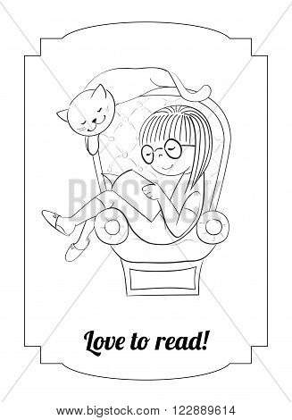 Vector coloring page. Girl reading in an arm-chair with cat. Love to read card.