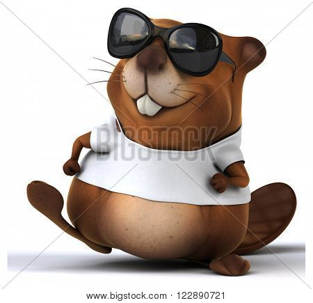 Beaver with a white tshirt