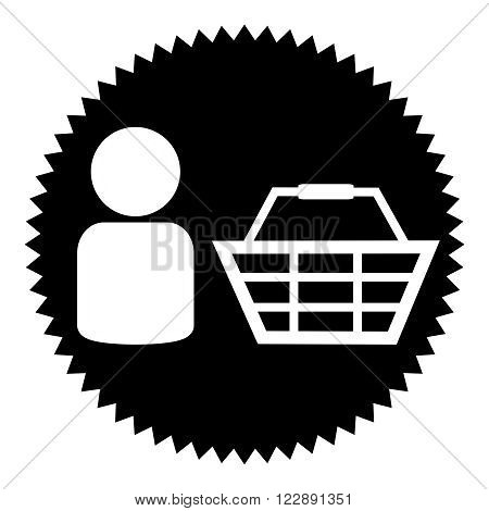 Black round Button shows Basket and customer icon