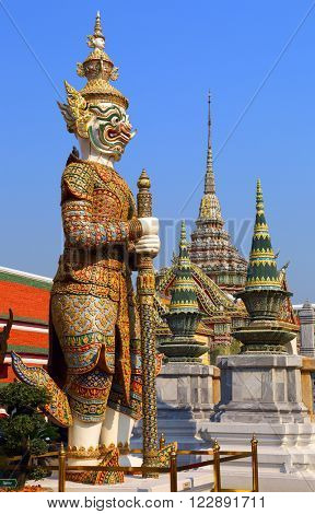 Statue of a Sahassadeja - giant demon in Wat Phra Kaew in Bangkok