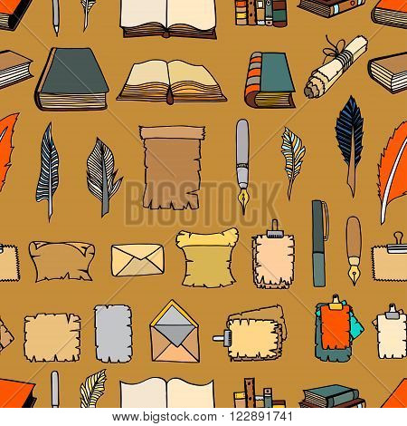 Seamless Hand Drawn Illustrations Pattern of Big Set Books and pen. Doodle vector illustration isolated on light Colored background.