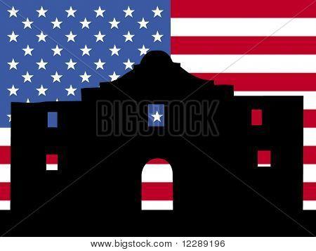 The Alamo San Antonio with American flag illustration
