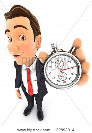 3d businessman holding a stopwatch isolated white background