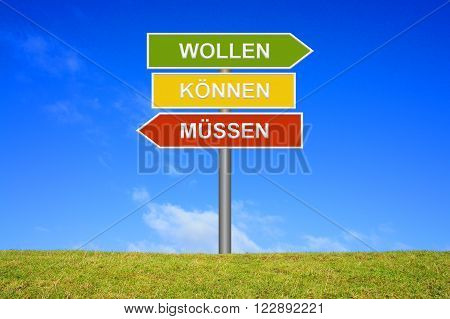 Signpost with 3 arrows shows Must Can Will in german language