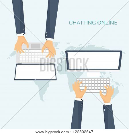 Vector illustration. Flat backgrounds set.  Social media, chatting. Global communication. Laptop, computer nd loudspeaker. Emailing. Web chat , internet messages. Sms.