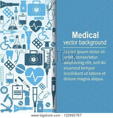 Medical background. Vector illustration. Health care and medical research. Space for text. Medical template. Background of the icons of medical equipment.