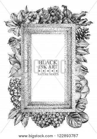 Rectangular frame with different flowers birds and plants drawn by hand with black 