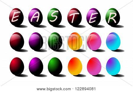 Easter colored eggs vector illustration - image stock