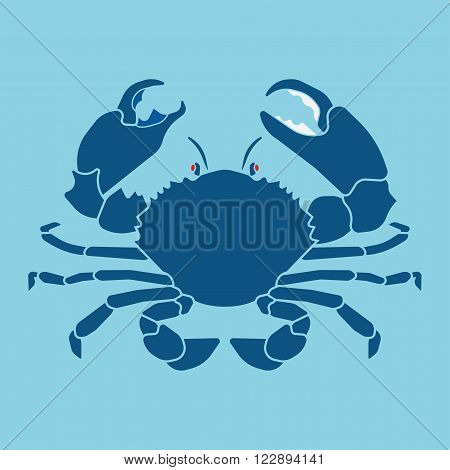 Lucky crab. Fresh seafood bar logo. Image crab on a blue background