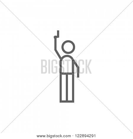 Man giving signal with starting gun line icon.