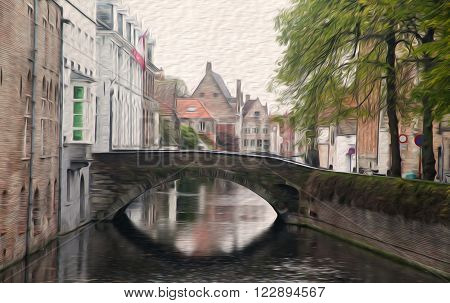 Brugge street landscape. Bridge over chanel buildings trees. Rainy weather concept autumn time. Oil painting textured image based on photo