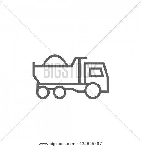 Dump truck line icon.