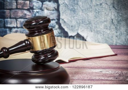gavel and book