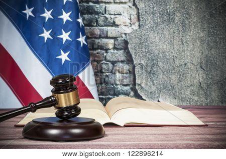 Gavel , book and USA flag