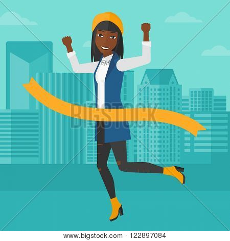 Business woman crossing finish line.
