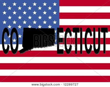 Texto de Connecticut con mapa en la ilustración de la bandera americana