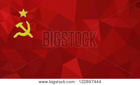 Soviet Union low poly triangulated flag in EPS 8 format