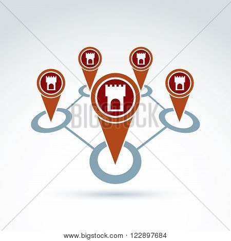 Vector illustration of  village ancient settlement. Historical monument symbol. Tourist sightseeing route. Map pointers with towers.