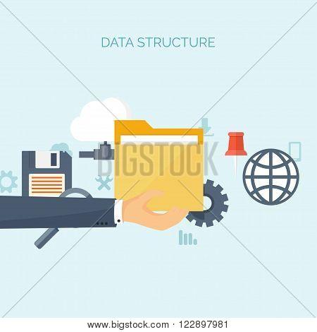 Vector illustration. Flat background. Computing, cloud technology. Data migration.
