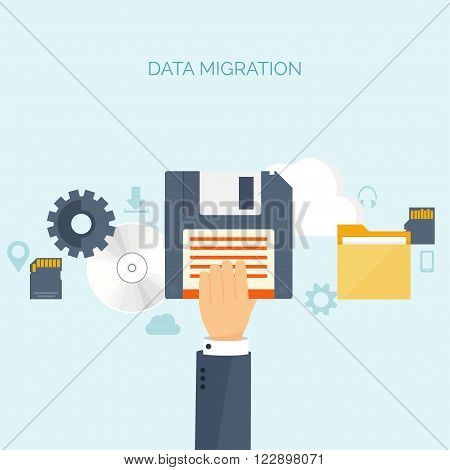 Vector illustration. Flat background. Computing, cloud technology. Data migration.