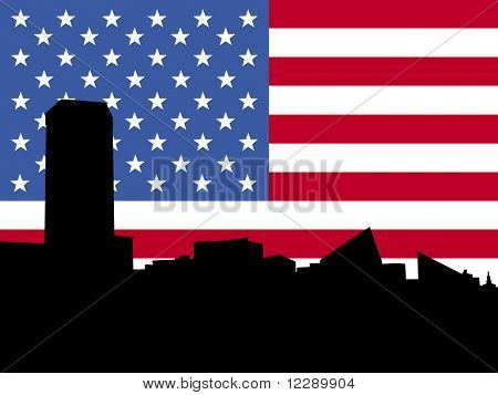 Baltimore Inner Harbor skyline with American flag illustration