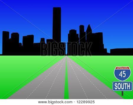 empty freeway leading to Houston skyline illustration