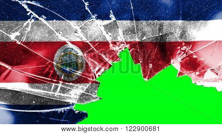 Flag of Costa Rica painted on broken glass