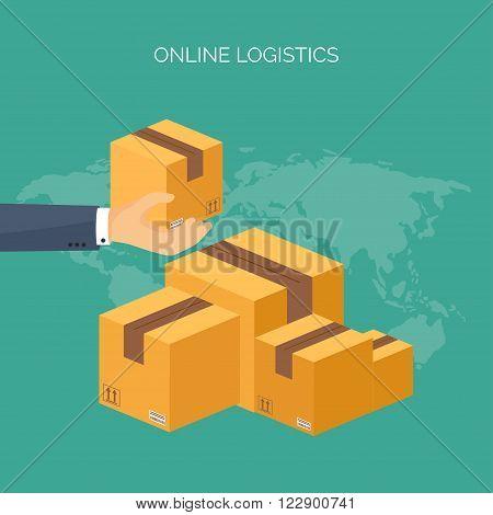 Vector illustration. Flat header. International delivery, worldwide postage. Emailing, online shopping. Envelope, package.