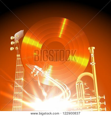 Vector illustration of jazz instruments in the world, jazz guitar, saxophone and trumpet on the background of a vinyl disc.