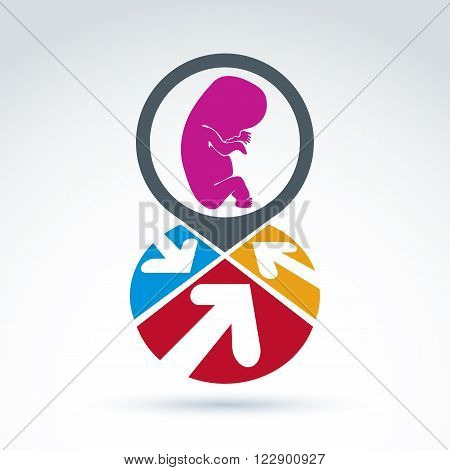 Colorful corporate brand icon with baby fetus symbol. Marketing emblem on pregnancy and abortion idea. Abstract sectored icon with arrows and baby embryo sign.