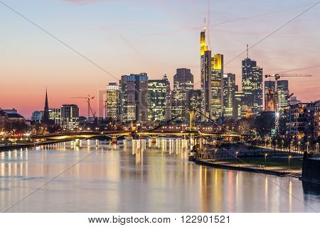 Skyline of Frankfurt Main downtown illuminated at night Germany ** Note: Soft Focus at 100%, best at smaller sizes