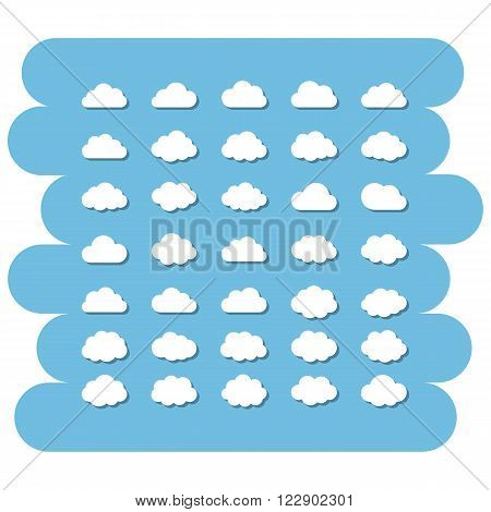 Cartoon clouds set.Cloud sign icons set.Abstract white cloud vector symbol isolated on a blue background.Sky, Vector cloud technology, app, net, safety.Cloud storage.Vector cloud icon collection.