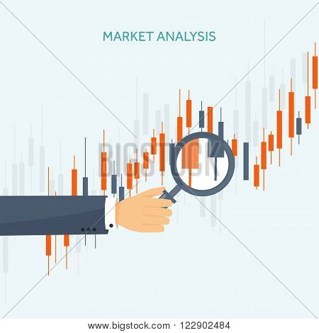 Vector illustration. Flat background. Market trade. Trading platform, account. Moneymaking, business. Analysis. Investing. EPS10 format.