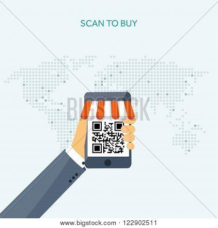 Vector illustration. Flat header. Internet shopping. Web store. Global communication, trading.E- business. E-commerce, money making.  EPS10 format.