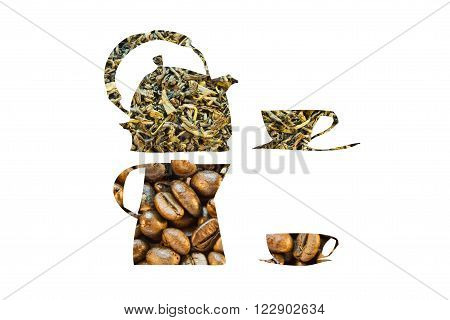 Coffee Pot Made Of Coffee  Beans  And Tea Pot Made Of Green Tea On A White Background