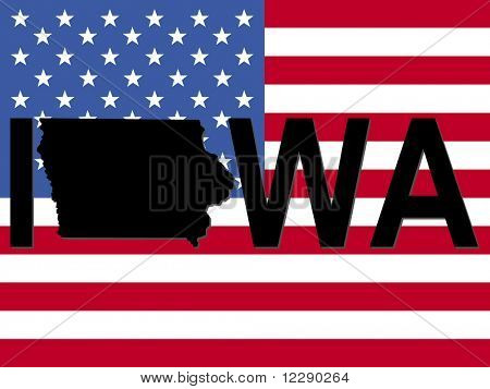 Iowa text with map on American flag illustration