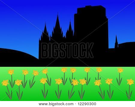 Salt Lake city skyline in spring with daffodils illustration