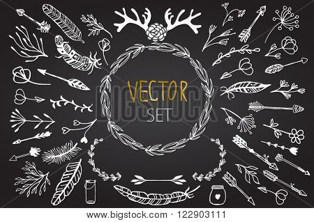Set of vector vintage rustic tribal and floral elements. Set of flowers, feathers, horns, jars, arrows in rustic style. Elements for design invitation, wedding cards, valentines day, greeting cards