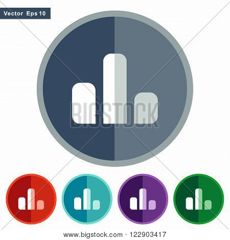 Flat icons barchart for Web and Mobile