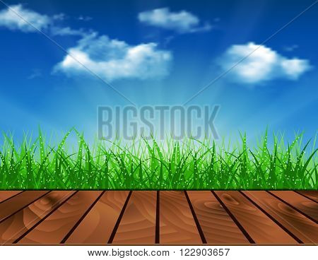 Wooden deck in front of green grass. Beautiful spring background of blue sky. vector background summer design  green garden nature illustration. morning sunlight grass early dew. eco background